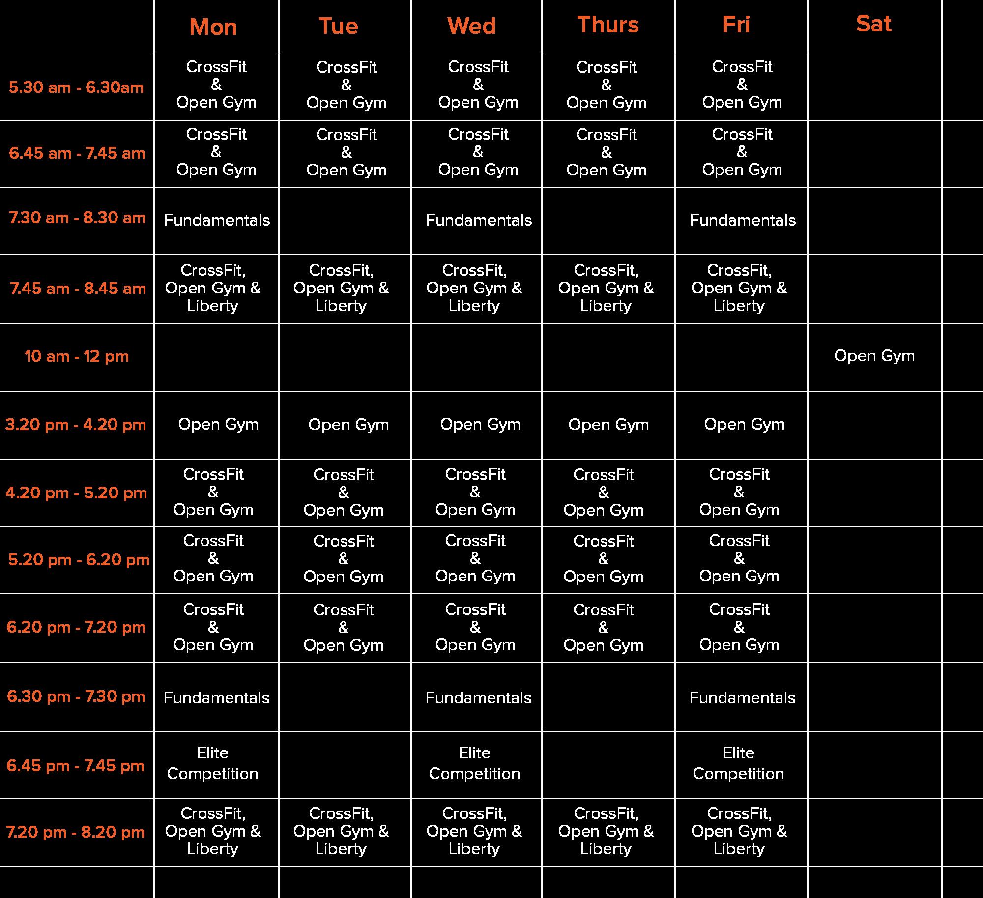 CrossFit DNR Class Schedule